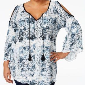 2X Nanette Lepore Cold Shoulder Tassel Print Top